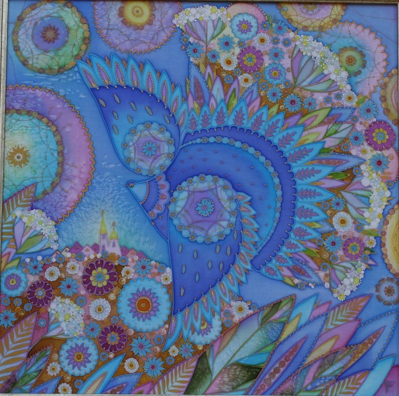 Синяя птица, батик (роспись по шелку), художник Пилипенко Виктория