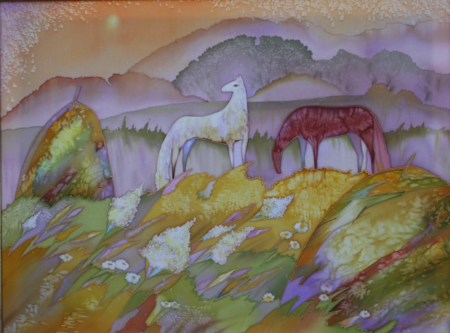 Туманное утро, батик (роспись по шелку), художник Пилипенко Виктория
