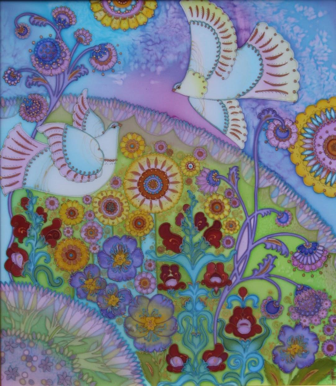Любимый сад, батик (роспись по шелку), художник Пилипенко Виктория