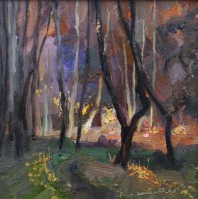 Каталог Ремесел, город Таруса, художник Пилипенко Михаил, живопись холст/масло, Вечер в лесу