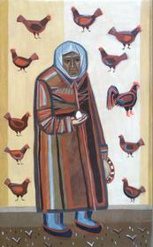 Каталог Ремесел, город Таруса, художник Пилипенко Михаил, живопись (левкас / темпера), Бабушка и куры