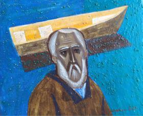 Каталог Ремесел, город Таруса, художник Пилипенко Михаил, живопись (левкас / темпера), Старик и лодка