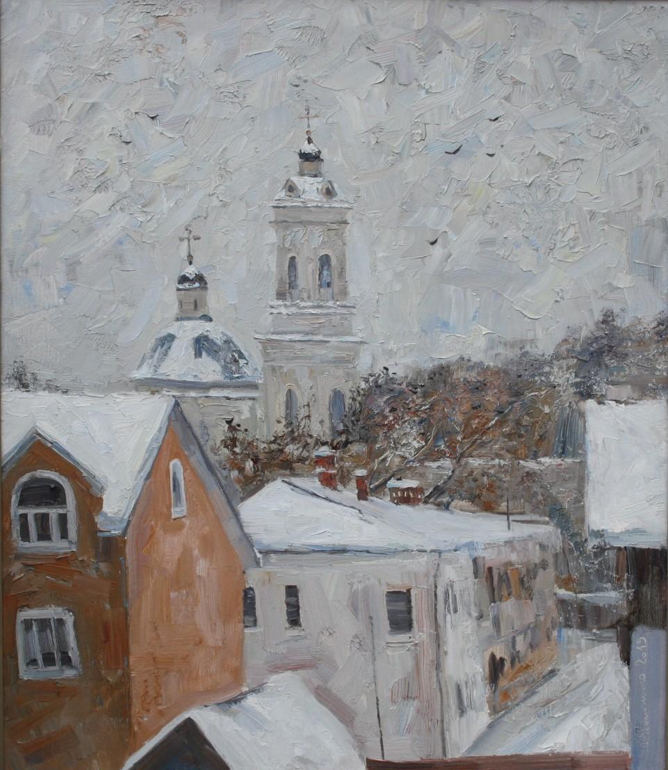 Каталог Ремесел, город Таруса, художник Пилипенко Михаил, живопись холст/масло, Таруса. Снег идёт.