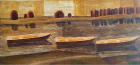 Каталог Ремесел, город Таруса, художник Пилипенко Михаил, живопись (левкас / темпера), Три лодки