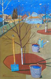 Каталог Ремесел, город Таруса, художник Пилипенко Михаил, живопись (левкас / темпера), Трясогузка