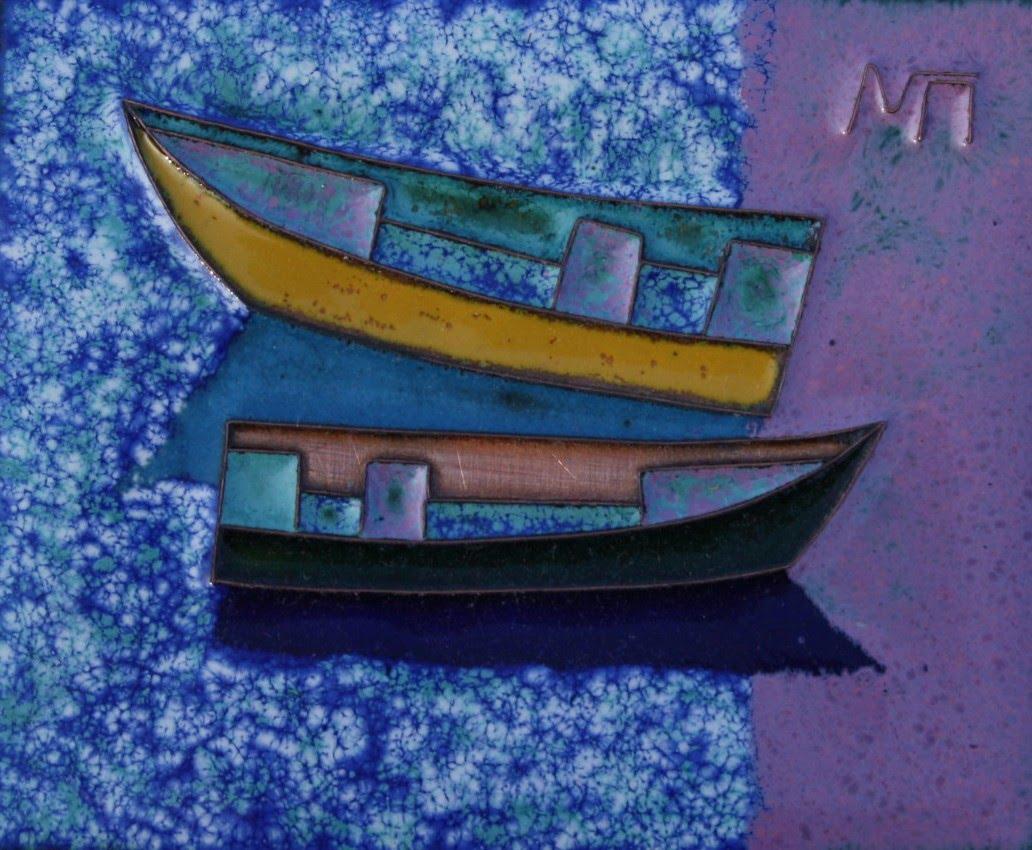 Каталог Ремесел, город Таруса, художник Пилипенко Михаил, горячая эмаль / медь, Лодки (вариант 3)