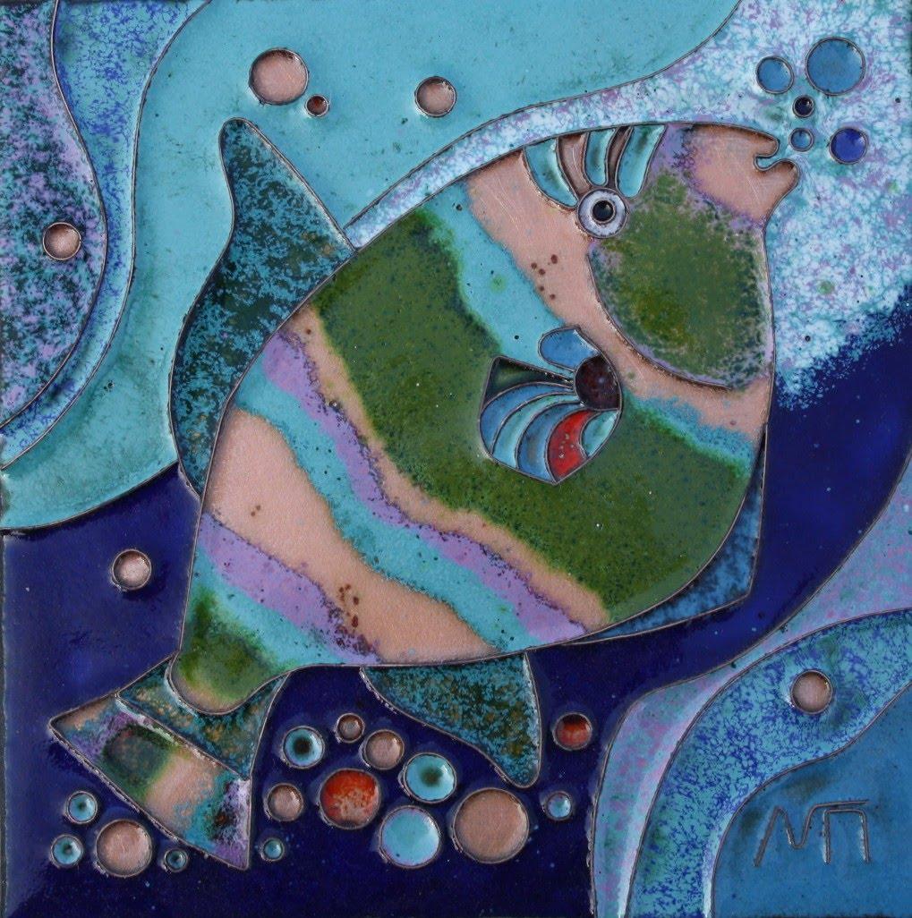 Каталог Ремесел, город Таруса, художник Пилипенко Михаил, горячая эмаль / медь, Рыбка