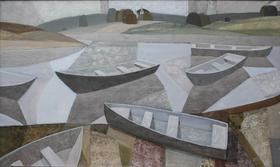 Каталог Ремесел, город Таруса, художник Пилипенко Михаил, живопись холст/масло/белое золото, Лодки