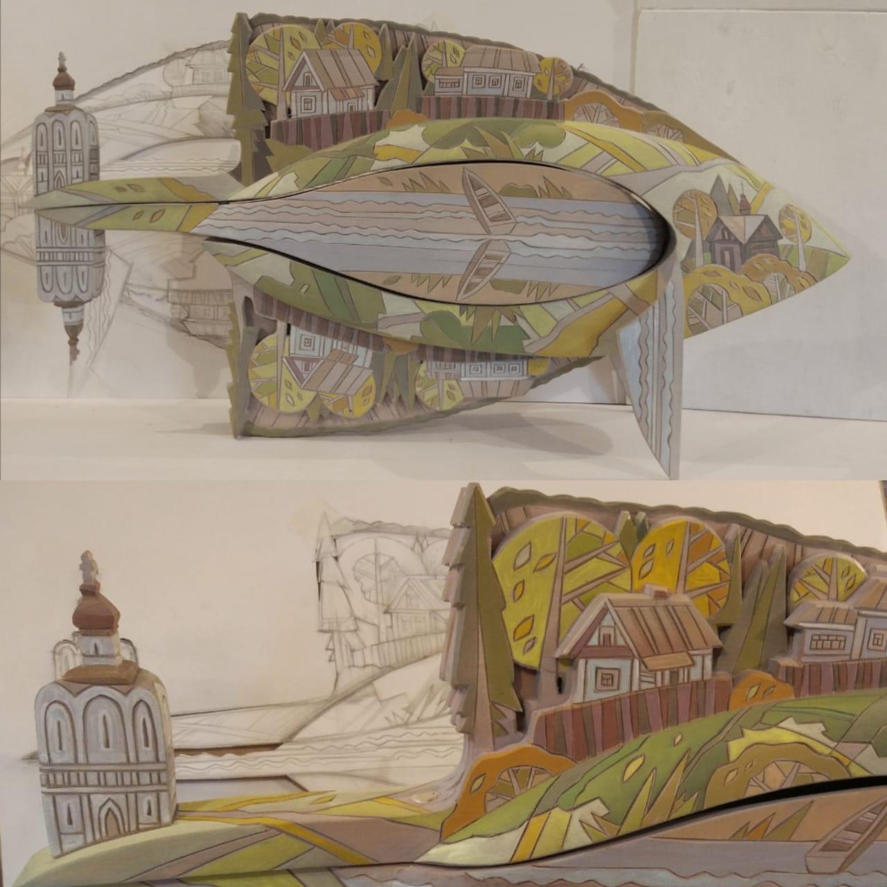 Каталог Ремесел, город Таруса, художник Пилипенко Сергей, скульптура (дерево/тонировка), Подводный листопад