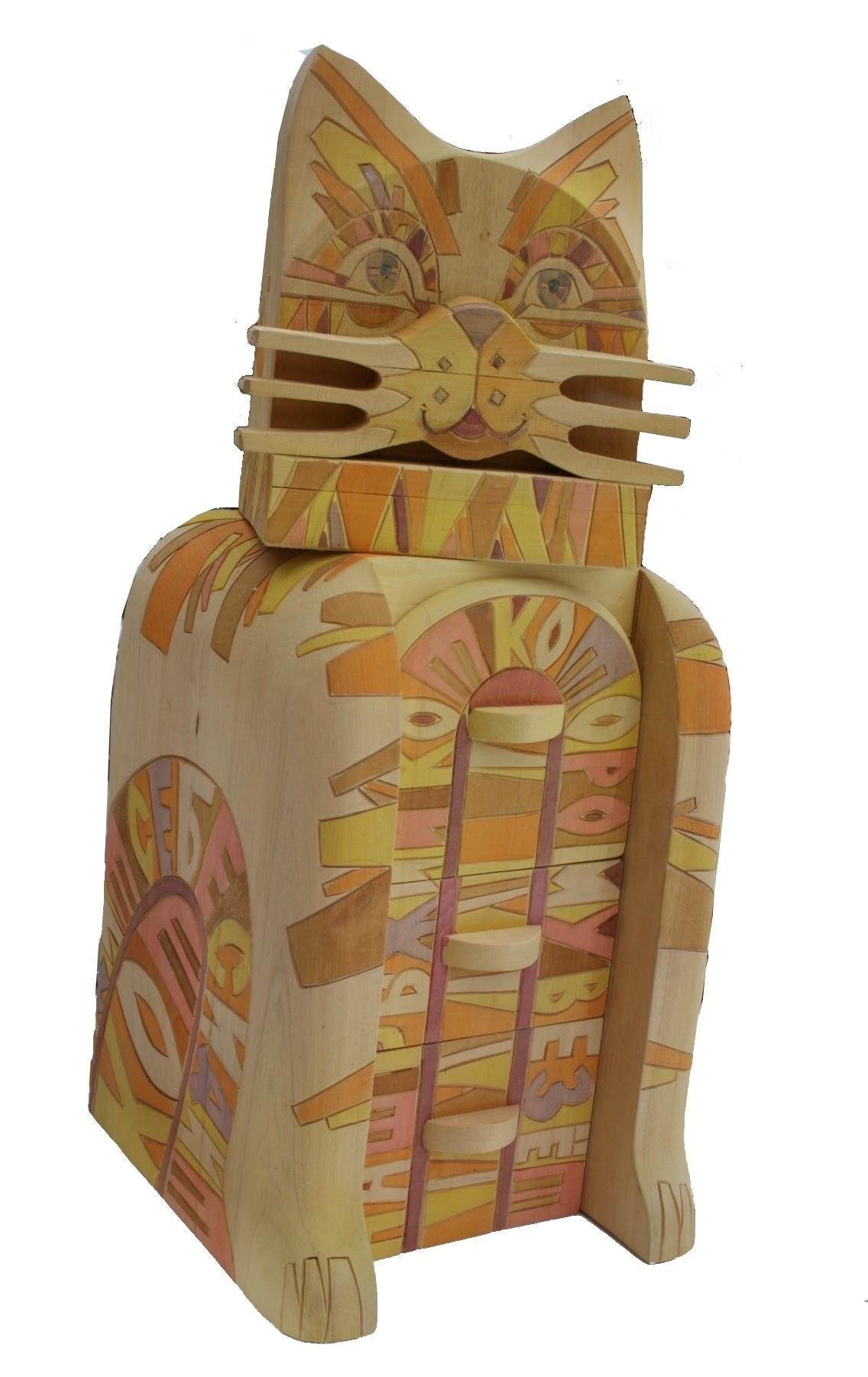 Каталог Ремесел, город Таруса, художник скульптор Пилипенко Сергей, скульптура (дерево/тонировка), Наш рыжий кот которому везет - комодик
