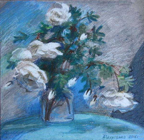 Каталог Ремесел, город Таруса, художник Пилипенко Антонина, живопись (акварель/пастель), Белые цветы
